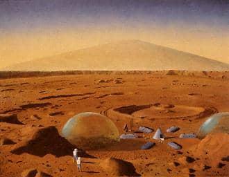 023 1954ca Bonestell campo de indigenas en Marte pintura ficcion 44pr
