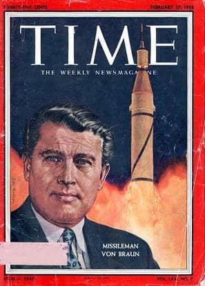030 1958 02 17 Wernher v Braun portada TIME hombre de cohetes 17 feb 1958 55pr