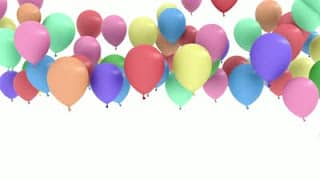 stock footage colorful balloon rising and flying up isolated white background